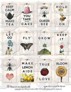 ART TEA LIFE Cards By The Dozen Collage Sheet by onecrabapple