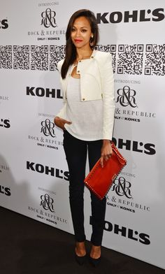 My fashionspiration: Zoe Saldana  Simple white shirt & jeans combo + accented w/ a bright purse= genius execution