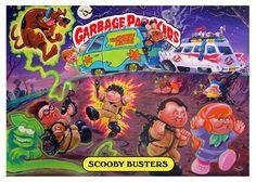 Custom Garbage Pail Kids Ghostbusters and Scooby mashup artwork by Joe Simko via gpkcustoms.com