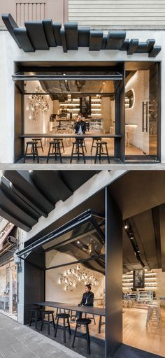 Designer alberto caiola - shanghai a, 2019 кафе, ресторан дизайн και кафе д Pub Design, Coffee Shop Design, Shop Front Design, Roof Design, Cafe Bistro, Cafe Bar, Cafe Restaurant, Restaurant Design, Juice Bar Design
