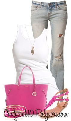 """Pink and White..."" by cindycook10 ❤ liked on Polyvore"