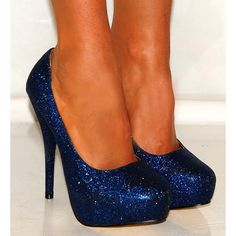SPARKLY glitter dark NAVY blue pumps womens high heel stiletto shoes ($79) ❤ liked on Polyvore