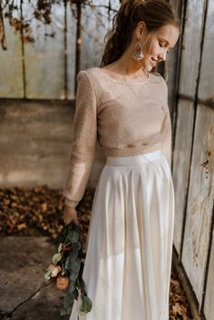 If you are a casual bride and are going for a casual wedding, if you are going to elope or tie the knot in the city hall and don't want to look too formal, Tailored Wedding Dress, Civil Wedding Dresses, Country Wedding Dresses, Casual Wedding Dresses, Winter Wedding Outfits, Disney Wedding Dress, Casual Bride, Lace Dress With Sleeves, Bridal Outfits