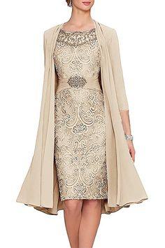 Elegant Knee Length Mother of the Bride Dress Chiffon Jacket Wedding Guest Gown Dresses For Sale, Dresses For Work, Dresses Online, Floryday Vestidos, Wedding Guest Gowns, Wedding Dress, Wedding Veil, Lace Wedding, Wedding Venues