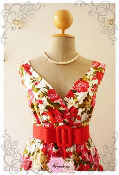 Romance Tea Dress Red Floral Dress Red Rose Vintage by Amordress, $49.00.  Another pretty dress.  Love the fabric, design, colors, and belt