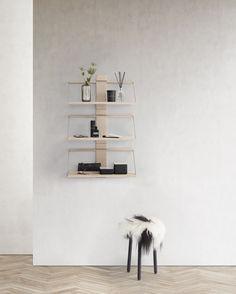 "Shelfing system ""Wood Wall Shelf"" by Andersen Furniture Wood Wall Shelf, Wall Shelves Design, Wall Mounted Shelves, Small Furniture, Furniture Design, D 20, Solid Oak, Decoration, New Homes"