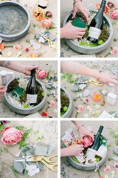 How to make a DIY spring basket - Geschenkideen - May Day Baskets, Mother's Day Gift Baskets, Wine Baskets, Gift Hampers, Basket Gift, Raffle Baskets, Diy Gifts For Mom, Homemade Gifts, Cool Gifts