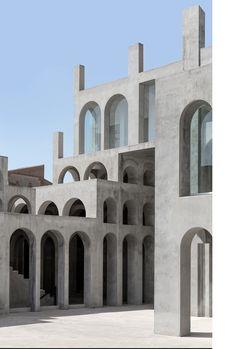 Xavier Corbero — Steve De Vriendt Minimalist Architecture, Facade Architecture, Open Staircase, Facade Design, Brutalist, Interior Exterior, Modern Buildings, Falling Waters, Futuristic Design