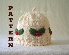 Baby Girl Hat Knitting Pattern Newborn Photo Prop Pattern Christmas Baby Hat Newborn Infant Toddler Kids Children Clothing DIY PDF Pattern. $4.99, via Etsy.