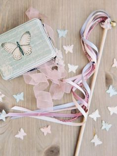 magical wedding featuring butterflies and ribbon wands!