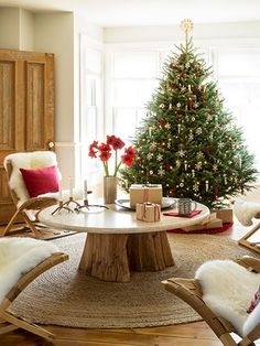 Finnish birch and felt ornaments trim the tree in this Wisconsin home.