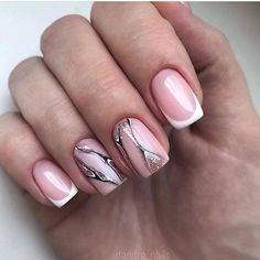 Nails Gelpolish Glitters ( on Somegram Negative Space Nails, Beautiful Nail Art, Wedding Nails, Fun Nails, Nail Designs, Instagram Posts, Glitters, French, Outfits