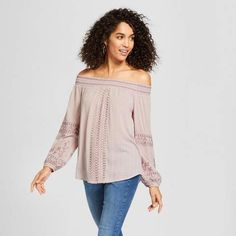 Knox Rose Women's Long Sleeve Embroidered Off the Shoulder Top - Knox Rose Dusty Lilac