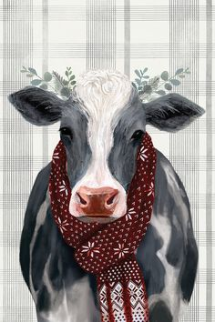Yuletide Cow II Canvas Wall Art by Victoria Borges Cow Canvas, Canvas Wall Art, Canvas Prints, Art Prints, Christmas Animals, Christmas Art, Farm Art, Cute Cows, Cow Art