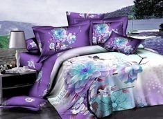 Charming Purple Magnolia 3D Printed 4-Piece Cotton Duvet Cover Sets
