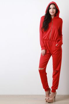 Front Zip Slit Knee Hooded Jumpsuit - http://urban-glam-boutique.myshopify.com/products/ung63611  #clothes #pantsjeans