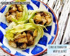 Ponto de Rebuçado Receitas: Cubos de frango em wrap de alface