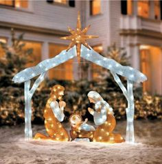 Outdoor Nativity Scenes That Light Up Outdoor nativity sets holy family baby jesus and yard decorations outdoor holiday christmas lighted nativity scene yard art display decoration workwithnaturefo