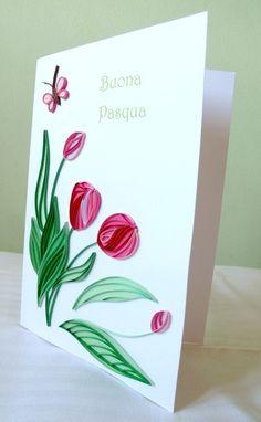 Bigliettino di Pasqua con tulipani e di Lauramyquillingdecor