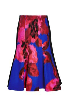 Floral silk flared hem skirt by Thakoon
