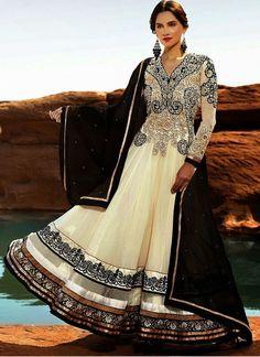 Serene Georgette Embroidered, Flower Patch Work and Patch Border Work Black and White Anarkali Salwar Kameez
