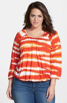 0f487e9e2ca  Azure Stripe  Peasant Top (Plus Size) Color  Dark Clementine