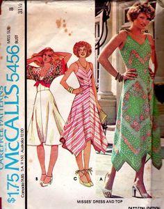 Vintage 1970s Sewing Pattern Handkerchief Dress & tie top