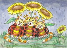 Singing Cat Bugs rain flower aceo Print EBSQ Kim Loberg Fantasy insect Kitty Art #IllustrationArt