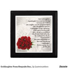 Shop Goddaughter Poem Keepsake Box - Roses Design created by Lastminutehero. Goddaughter Gifts, Box Roses, Detail Shop, Daughter Of God, Holiday Photos, Keepsake Boxes, Gift Tags, Great Gifts, Joy