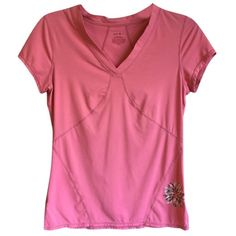 $49 S Zella Pink Wicking Performance Tee Label has worn off, no other wear noted  Run your best mile in this nonrestrictive scoop-neck tee shaped by ergonomic flatlock seams. The moisture-wicking knit keeps you dry.  Split side hem and a flower print provide visual interest Neon colors are brighter in person. Smooth flatlock seaming won't rub or irritate. 86% polyester, 14% spandex Machine wash cold, tumble dry low. Bust: 33 Waist: 28 Sleeve: 5 Length: 22.5  Size chart:  Bust: 33.5-34.5…