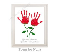 Gift for Nona, Nona's Birthday Gift, Mother's Day gift, Handprint, Kids gift to a Nona, Handmade Nona Gift