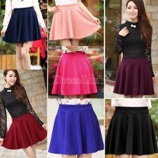 Las mujeres del color del caramelo del estiramiento de la cintura normal Skater evasé plisado Mini Skirt