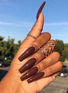 Nail Shapes - My Cool Nail Designs Brown Acrylic Nails, Square Acrylic Nails, Oval Nails, Cute Acrylic Nails, Square Nails, Acrylic Nail Designs, Brown Nail, Brown Brown, Pointed Nails