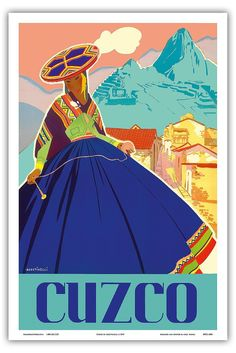 Cuzco, Peru - Machu Picchu - Peruvian Woman in Native Dress with Andean Drop Spindle - Vintage World Travel Poster by Agostinelli c.1947 - Master Art Print - 12in x 18in: Amazon.ca: Maison et Cuisine