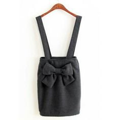 Cute Solid Color Braces Design Bow Knot Embellished Bodycon Women's Skirt, GRAY, S in Skirts   DressLily.com