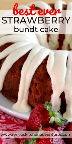 Best Ever Strawberry Bundt Cake by Renee's Kitchen Adventures is an easy recipe (starts with a boxed cake mix) that makes a cake bursting with strawberry flavor! Use frozen or fresh strawberries in this recipe! Trust me, you are going to LOVE this cake! Strawberry Bundt Cake Recipe, Fresh Strawberry Cake, Pound Cake With Strawberries, Recipes With Fresh Strawberries, Frozen Strawberry Recipes, Blueberry Cake, Strawberry Desserts, Bundt Cake Mix Recipe, Box Cake Recipes
