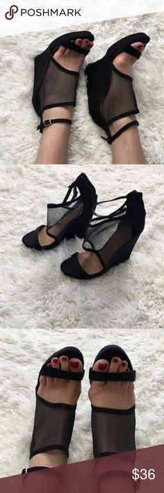 NASTY GAL Shoe Cult Wedges Suede Black size 8 NASTY GAL Shoe Cult Wedges Suede Black size 8 worn once. Like new. Very comfy ! Nasty Gal Shoes Wedges