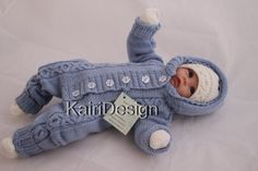 Knitting pattern of Baby jumpsuit set for 0-3 month by kairidesign