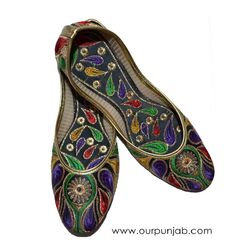 These traditional multicolored jutti are perfect with jeans or Indian dresses such as Salwaar Kameezes and Saris. Visit www.ourpunjab.com and get your pair today!