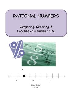 Fractions, Decimals & Percents:  Comparing, Ordering & Locating on a Number Line (great for test prep)