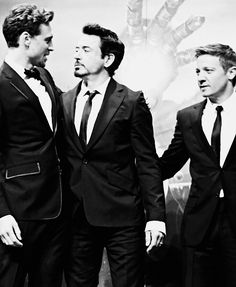 img:Tom Hiddleston, Robert Downey Jr, and Jeremy Renner <3; too lovely