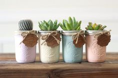 Succulents in painted mason jars-- makes for a cute hostess gift or party center piece!