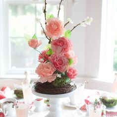 This stunning centerpiece was made by Lia Griffith with Martha Stewart Crafts Vintage Girl Cupcake Wrappers. Perfect for Mother's Day! #marthastewartcrafts #12monthsofmartha