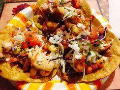 Shrimp tacos with mango salsa.