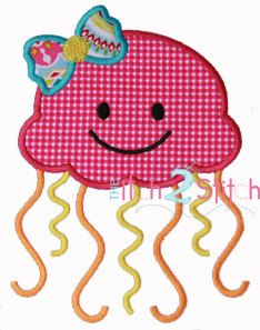Girly Jellyfish Applique Design (font NOT included) In Hoop Sizes 4x4, 5x7, and 6x10 INSTANT DOWNLOAD now available by TheItch2Stitch on Etsy https://www.etsy.com/listing/151118102/girly-jellyfish-applique-design-font-not