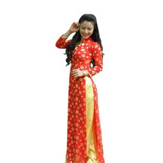 New AO DAI Vietnam CUSTOM MADE, Polka Dot & Yellow, Silk Brocade & Satin