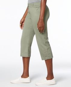 Karen Scott Petite Denim Capri Pants, Created for Macy's - Tan/Beige 14P