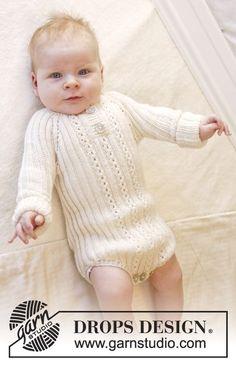 """Body de punto DROPS en punto elástico, tejido de arriba abajo en """"Baby Merino"""". Talla prematuro - 4 años. ~ DROPS Design"""