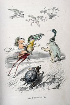 Love the work of this science fiction illustrator. Fun fro kids too I think. J.J. Grandville  Un Autre Monde (1844)