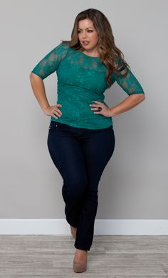 Plus Size Smitten Lace Top in Retro Jade by Kiyonna #KiyonnaPlusYou #Kiyonna #PlusSize